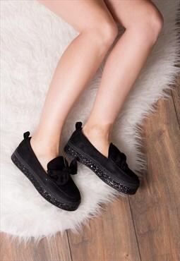 KAI Platform Flat Loafer Shoes - Black Suede Style