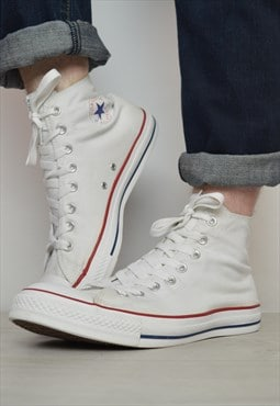 Vintage 90s Converse White Hi-Tops Trainers Retro Preppy