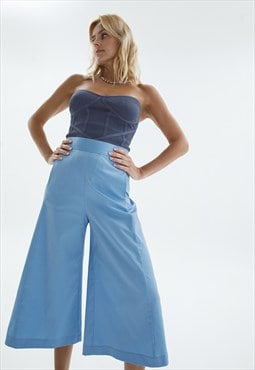 Wide leg high waisted culottes in sky blue color