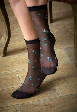 Summer Black Flower Pop Socks