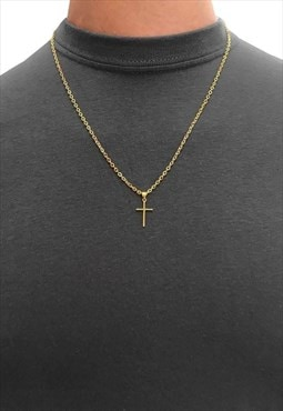 """18"""" Mini Cross Gold Plated Pendant Necklace Chain"""