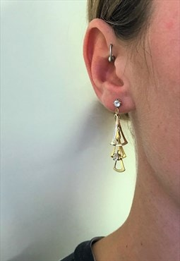 1990s Vintage Gold Plated Bell Earrings
