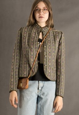 Earthy colors vintage wool crop jacket from the 90s
