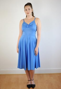 Womens Vintage 50s 60s dress light blue swing floaty prom