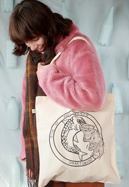 Organic tote bag in natural with plastic puke fish print