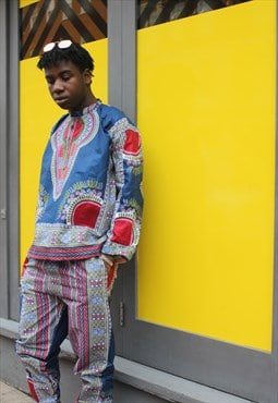 African Print Two Piece - Dashiki Trousers - Festival Shirt
