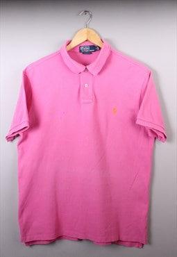 Mens Vintage Ralph Lauren Pink Short Sleeve Polo Top