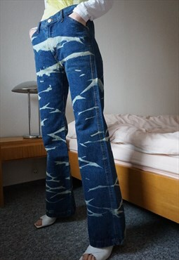 90s Deadstock Acid Flares Tie Dye Jeans High Waisted Pants