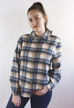 Womens Vintage 80s top blue flannel look checked shirt