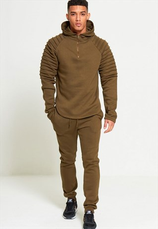 MENS KHAKI RIBBED DETAIL HOODED TRACKSUIT