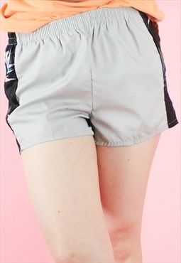 Vintage 90s Shorts Y2K Grey with Black Stripe Detail