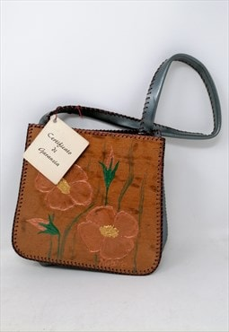 VINTAGE brown bag with casual style painting design