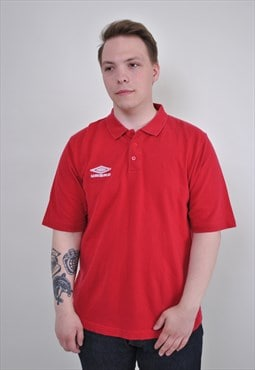 Vintage Umbro polo shirt, 90s red sport polo tee