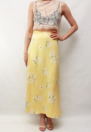 VINTAGE 80' AMAZING CUTE FLOWER PASTEL YELLOW SILK SKIRT