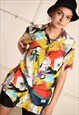 90'S RETRO ABSTRACT FLORAL PRINT FESTIVAL BLOUSE TOP