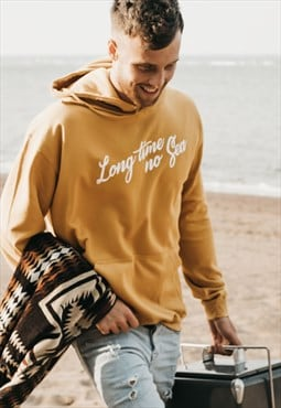 'Long Time No Sea' Mens Sea Slogan Hoody in Mustard Yellow