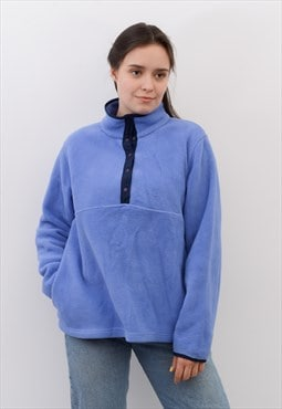 Vintage L L Bean Women's M Blue Fleece Jumper Sweatshirt