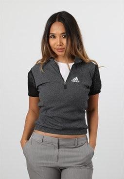 Vintage Adidas Printed Logo 1/4 Zip Short Sleeve Top