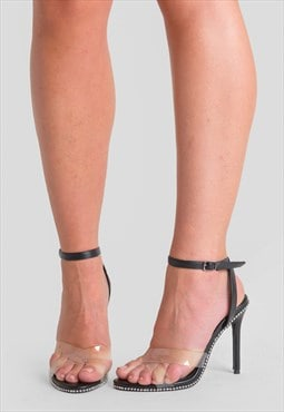 Athena Perspex Studded Barely There Heels in Black