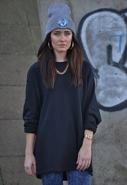 Retro New Plain Black Oversized Long Sleeve Tee Shirt Top
