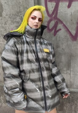 gradient clear see thought bomber rubber feel puffer jacket