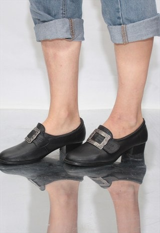 VINTAGE 90' AMAZING BEAUTIFUL BLACK MID-HEELED SHOES