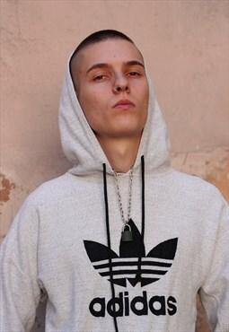 Y2K Vintage Adidas Hooded Sweatshirt with Big Trefoil