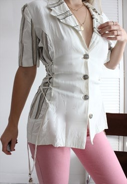 Vintage 80s Cream Blouse With Lace Up Sides