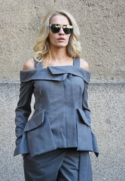 Grey wool Blazer/Business Coat/Casual/Extravagant/F1662