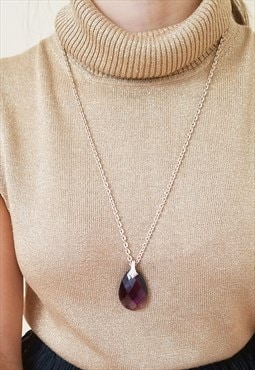 Vintage teardrop faceted purple pendant necklace