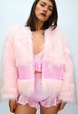 Pink Faux Jacket with sequin panel Pea St