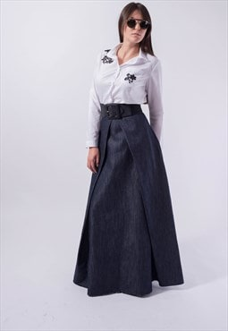 Denim Dress Denim Skirt Casual Long Dress F1832