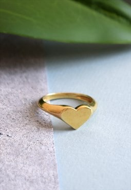 Gold Heart Signet Ring Handmade