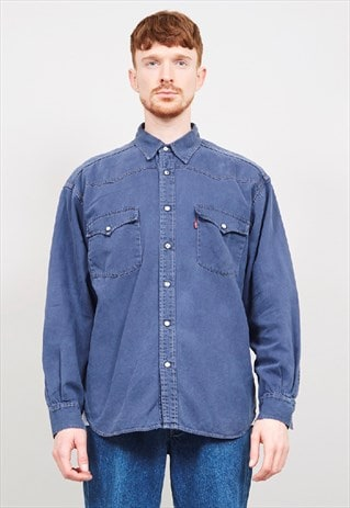 VINTAGE 90'S LEVI'S RED TAB NAVY DENIM SHIRT
