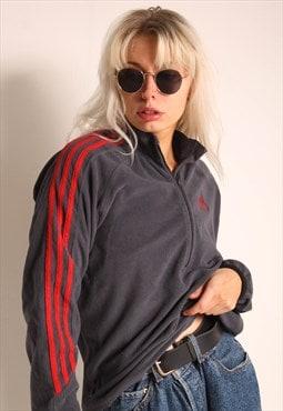 Vintage Adidas 1/4 Zip Fleece Sweatshirt Grey