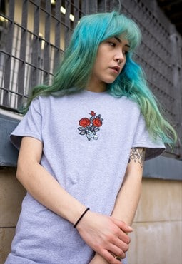 Embroidered Roses T-Shirt - Heather Grey