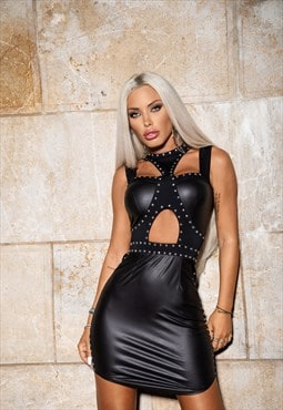 Leather party dress with neck detail