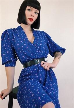 90s Vintage Blue V Neck Crossover Mid Length Floral Dress