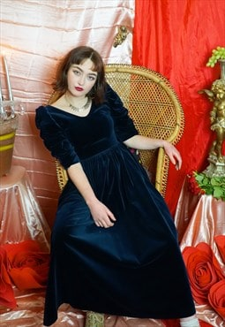 Vintage 80's blue velvet puff sleeve Laura Ashley dress