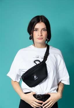 Waist Bag with See Through Net Fabric in Black