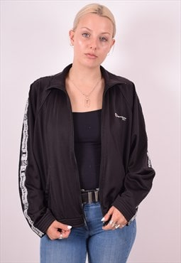 Champion Womens Vintage Tracksuit Top Jacket Large Black 90s