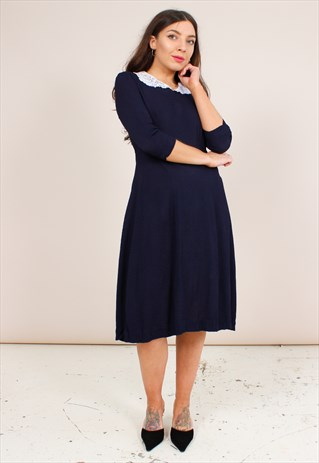 VINTAGE 40S NAVY CREPE MIDI DRESS WITH LACE COLLAR