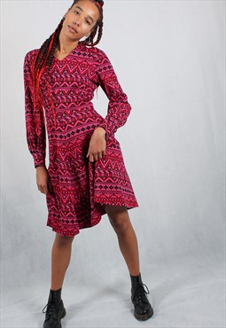 70's Pink Aztec Print Long Sleeve Dress