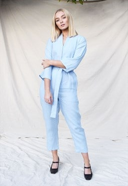 Kimono Long Sleeve Blue Linen Jumpsuit with V Neck and Tie