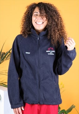 Vintage Fleece in Navy Blue with a Zip Embroidery Logo