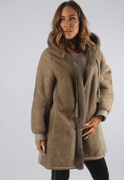 Vintage Sheepskin Suede Shearling Coat Short 16 XL (J9AB)