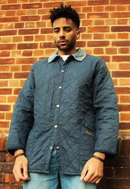 Vintage 90's Blue Barbour Quilted Jacket