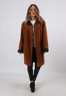 Sheepskin Suede Shearling Coat Leather Jacket UK 16 (A8BJ)