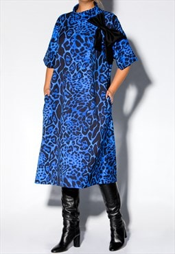 Women Blue Dress, Animal Print Dress, Loose Dress,Midi Dress
