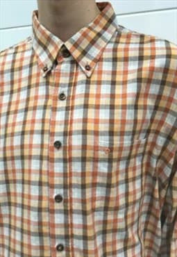 Mens Vintage 80s shirt orange checked pierre cardin top